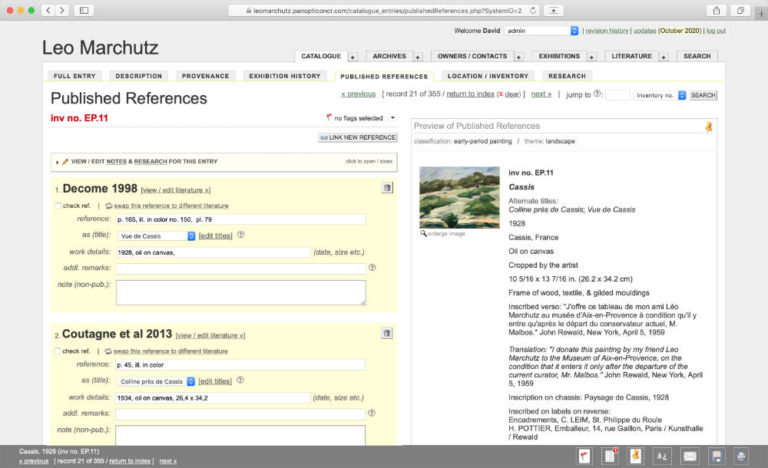 Published References Page. Work Linked to Literary References.