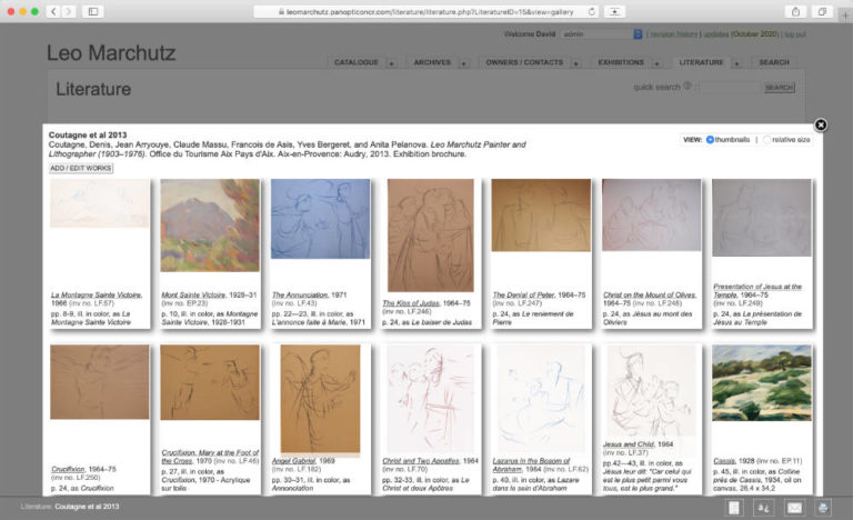 Gallery View of All Works Linked to One Specific Publication